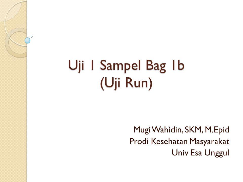 Uji 1 Sampel Bag 1b (Uji Run) Mugi Wahidin, SKM, M.Epid Prodi Kesehatan Masyarakat Univ Esa Unggul