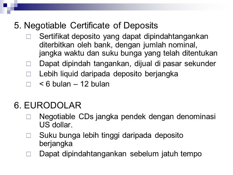 5. Negotiable Certificate of Deposits  Sertifikat deposito yang dapat dipindahtangankan diterbitkan oleh bank, dengan jumlah nominal, jangka waktu da