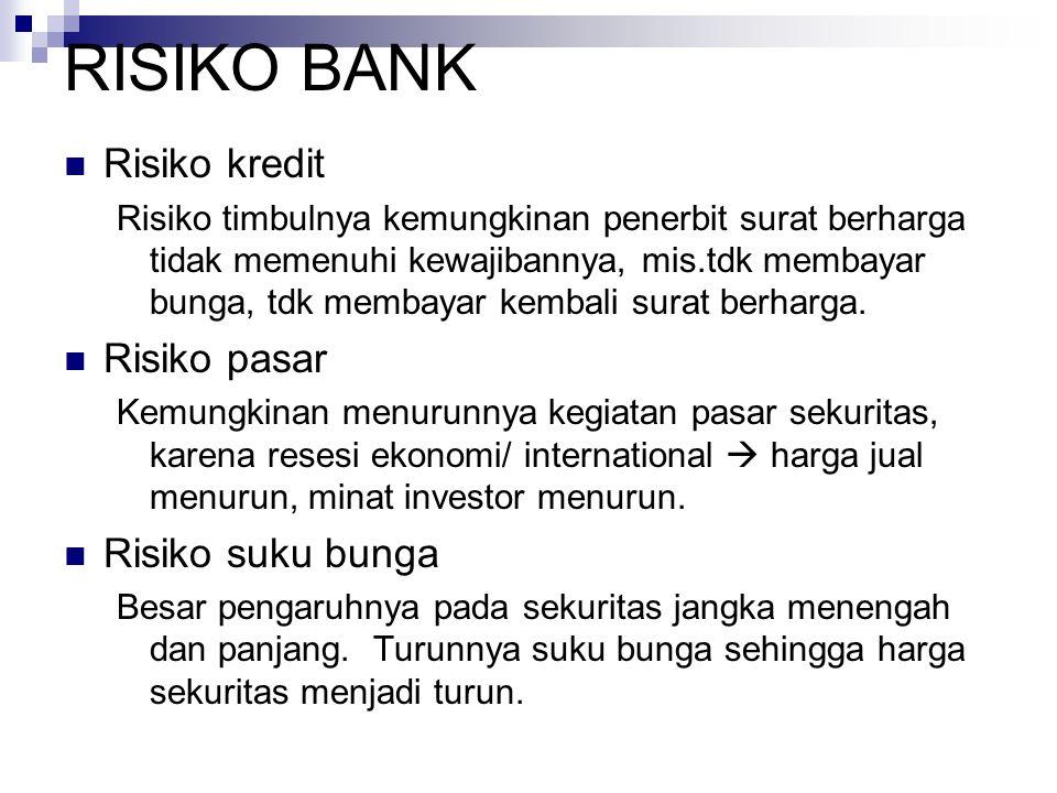 RISIKO BANK Risiko kredit Risiko timbulnya kemungkinan penerbit surat berharga tidak memenuhi kewajibannya, mis.tdk membayar bunga, tdk membayar kembali surat berharga.