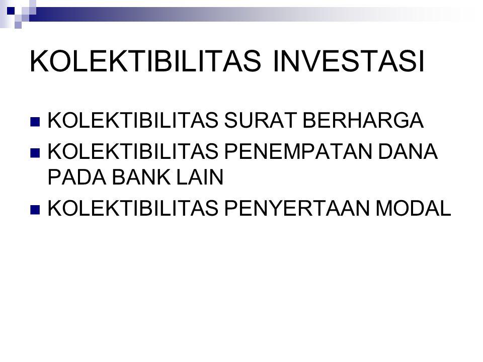 KOLEKTIBILITAS INVESTASI KOLEKTIBILITAS SURAT BERHARGA KOLEKTIBILITAS PENEMPATAN DANA PADA BANK LAIN KOLEKTIBILITAS PENYERTAAN MODAL