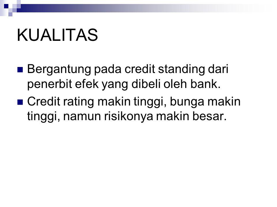 KUALITAS Bergantung pada credit standing dari penerbit efek yang dibeli oleh bank. Credit rating makin tinggi, bunga makin tinggi, namun risikonya mak
