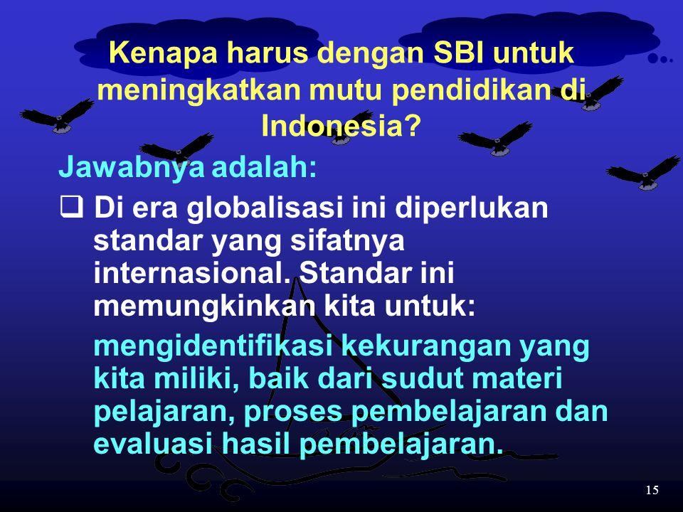 14 Kritikan-kritikan tersebut tampaknya semakin mendorong sekolah-sekolah yang ditunjuk untuk bereksperimen dengan program SBI. Soalnya dasar utama di