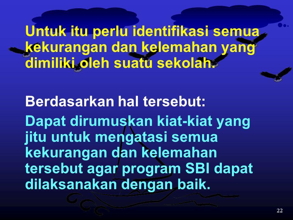 21 Oleh karena itu untuk bereksperimen dengan SBI perlu:  Kebersamaan antara kepala sekolah, guru, staf pendukung sekolah, orang tua siswa, dan pemer