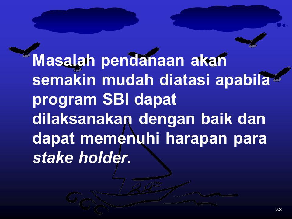 27 Kelemahan 2: SUMBER DANA Program SBI memerlukan dana yang besar yang tidak mungkin ditanggung oleh pemerintah pusat dan orang tua siswa. Oleh karen