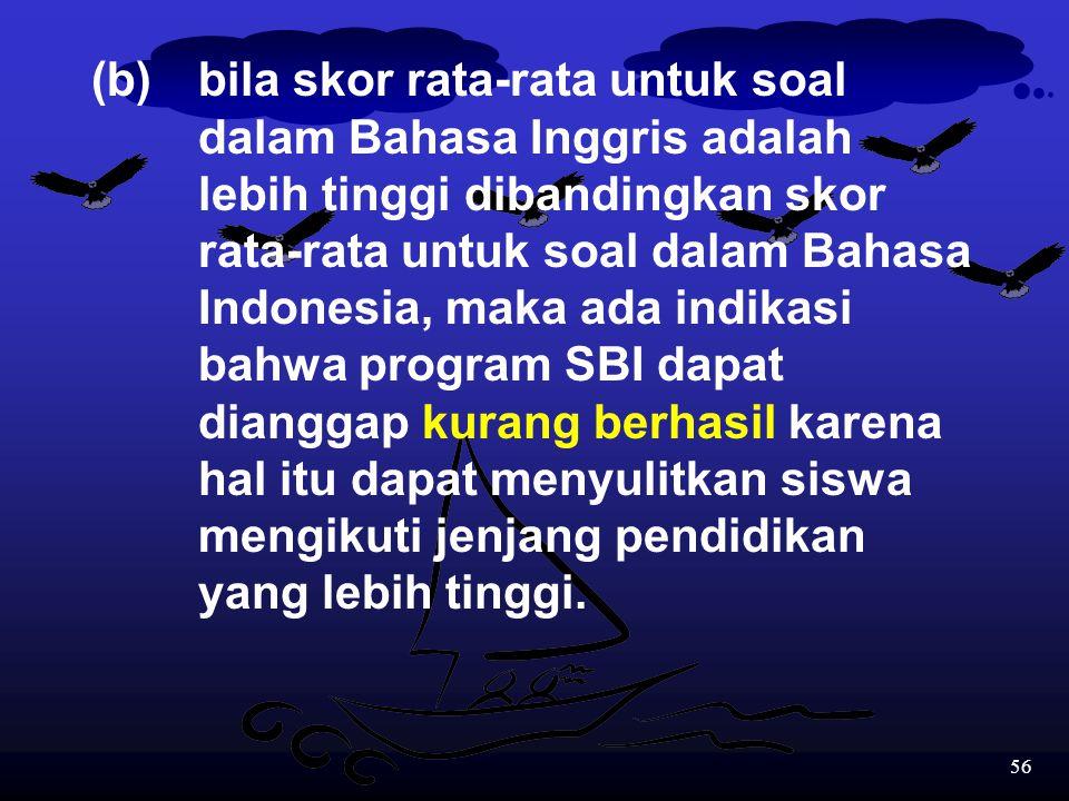 55 Evaluasi dengan pasangan soal dalam Bahasa Inggris dan Bahasa Indonesia dapat digunakan untuk: 1.Mengidentifikasi keberhasilan dari program SBI yan