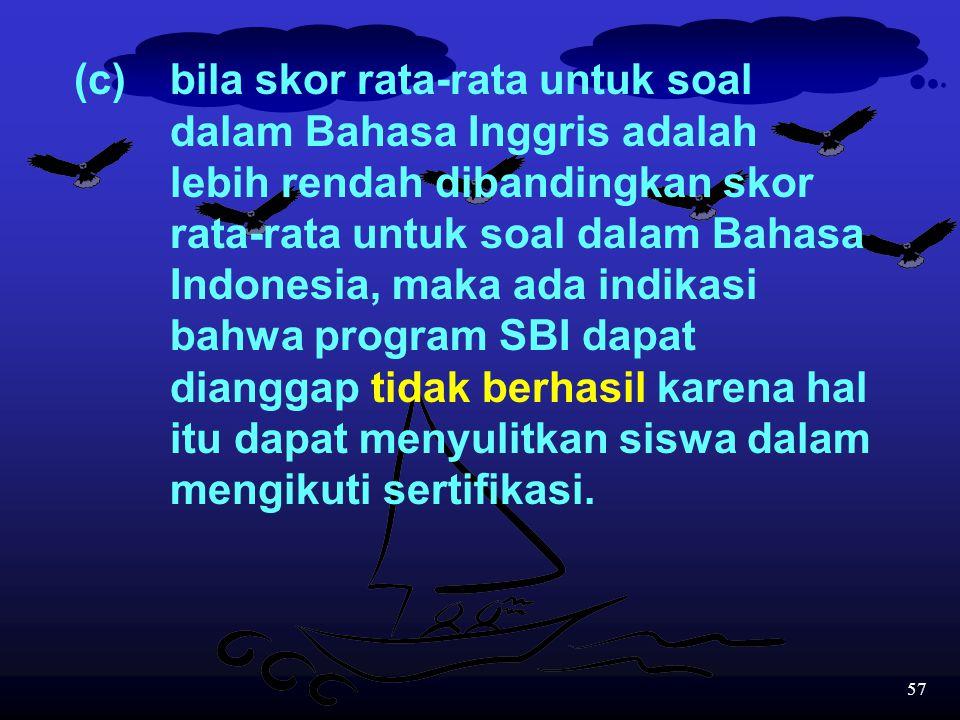 56 (b)bila skor rata-rata untuk soal dalam Bahasa Inggris adalah lebih tinggi dibandingkan skor rata-rata untuk soal dalam Bahasa Indonesia, maka ada