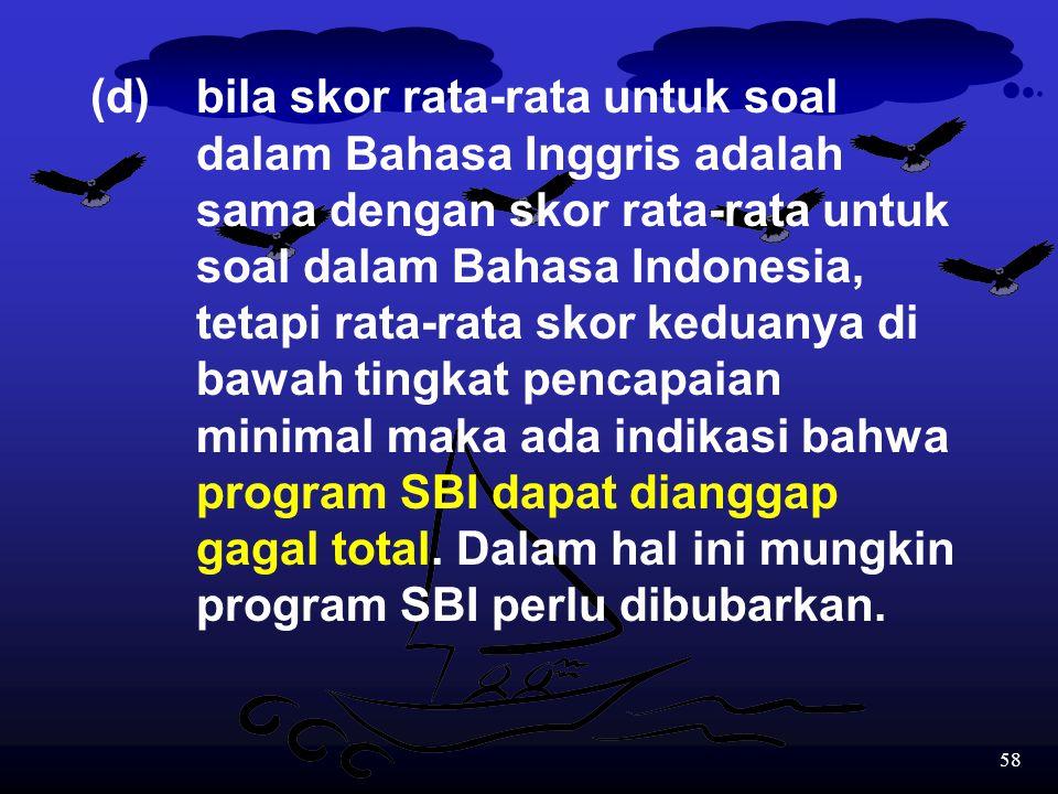 57 (c)bila skor rata-rata untuk soal dalam Bahasa Inggris adalah lebih rendah dibandingkan skor rata-rata untuk soal dalam Bahasa Indonesia, maka ada