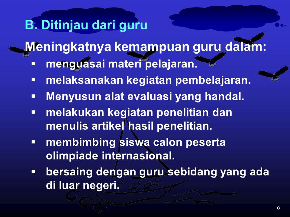 56 (b)bila skor rata-rata untuk soal dalam Bahasa Inggris adalah lebih tinggi dibandingkan skor rata-rata untuk soal dalam Bahasa Indonesia, maka ada indikasi bahwa program SBI dapat dianggap kurang berhasil karena hal itu dapat menyulitkan siswa mengikuti jenjang pendidikan yang lebih tinggi.