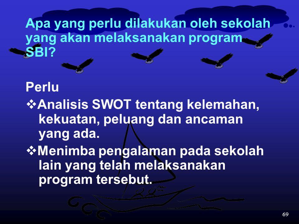68 9.Kerjasama antar sekolah yang melaksanakan program SBI mutlak harus terus dilaksanakan karena program ini dapat dianggap merupakan tugas kita semu