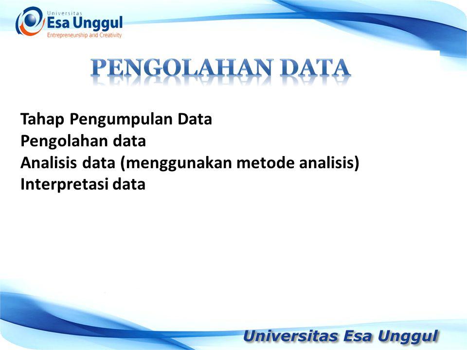 Tahap Pengumpulan Data Pengolahan data Analisis data (menggunakan metode analisis) Interpretasi data