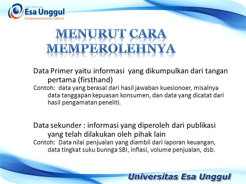 Data Primer yaitu informasi yang dikumpulkan dari tangan pertama (firsthand) Contoh: data yang berasal dari hasil jawaban kuesionoer, misalnya data ta