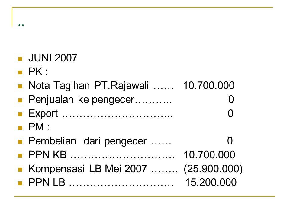 .. JUNI 2007 PK : Nota Tagihan PT.Rajawali …… 10.700.000 Penjualan ke pengecer……….. 0 Export ………………………….. 0 PM : Pembelian dari pengecer …… 0 PPN KB …