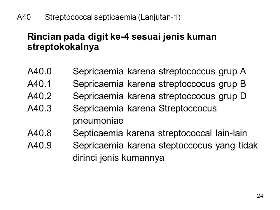 24 A40Streptococcal septicaemia (Lanjutan-1) Rincian pada digit ke-4 sesuai jenis kuman streptokokalnya A40.0Sepricaemia karena streptococcus grup A A40.1Sepricaemia karena streptoccocus grup B A40.2Sepricaemia karena streptoccocus grup D A40.3Sepricaemia karena Streptoccocus pneumoniae A40.8Septicaemia karena streptococcal lain-lain A40.9Sepricaemia karena steptoccocus yang tidak dirinci jenis kumannya
