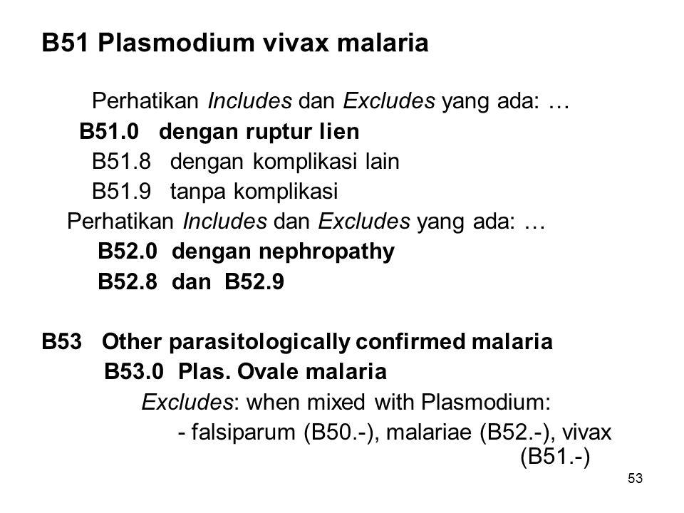 53 B51 Plasmodium vivax malaria Perhatikan Includes dan Excludes yang ada: … B51.0 dengan ruptur lien B51.8 dengan komplikasi lain B51.9 tanpa komplikasi Perhatikan Includes dan Excludes yang ada: … B52.0 dengan nephropathy B52.8 dan B52.9 B53 Other parasitologically confirmed malaria B53.0Plas.
