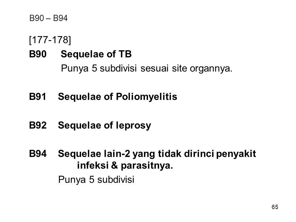 65 B90 – B94 [177-178] B90 Sequelae of TB Punya 5 subdivisi sesuai site organnya.