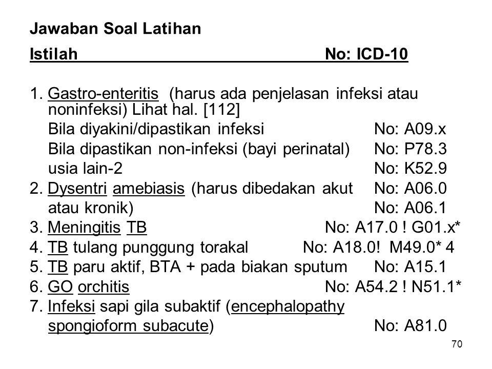 70 Jawaban Soal Latihan IstilahNo: ICD-10 1.