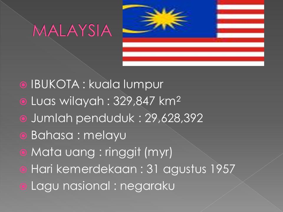  IBUKOTA : kuala lumpur  Luas wilayah : 329,847 km 2  Jumlah penduduk : 29,628,392  Bahasa : melayu  Mata uang : ringgit (myr)  Hari kemerdekaan