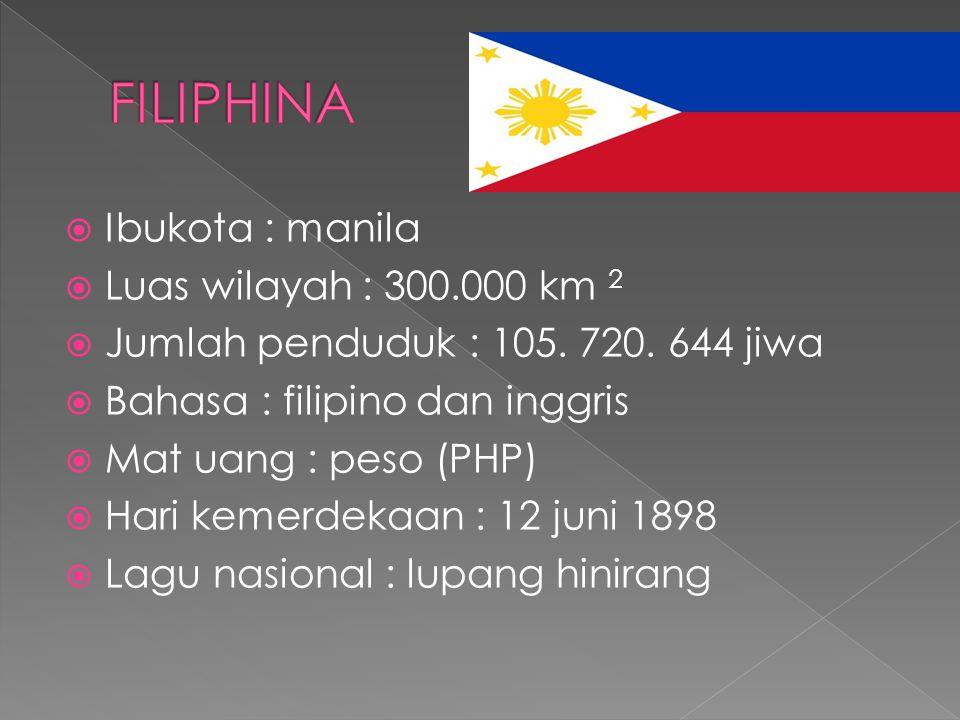  Ibukota : manila  Luas wilayah : 300.000 km 2  Jumlah penduduk : 105. 720. 644 jiwa  Bahasa : filipino dan inggris  Mat uang : peso (PHP)  Hari