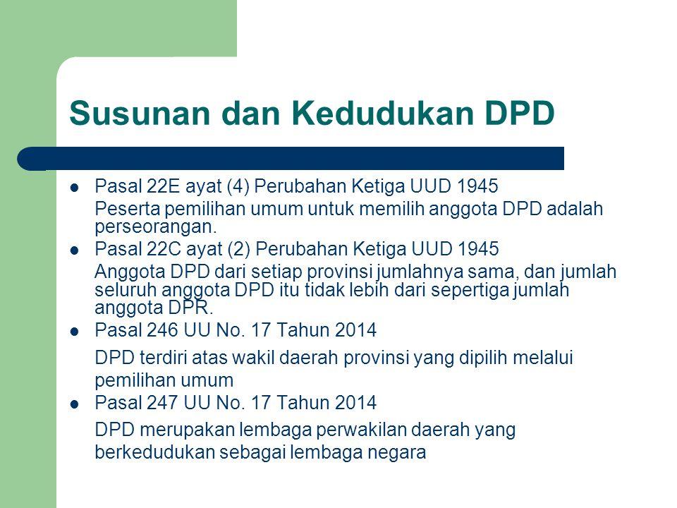 Susunan dan Kedudukan DPD Pasal 22E ayat (4) Perubahan Ketiga UUD 1945 Peserta pemilihan umum untuk memilih anggota DPD adalah perseorangan. Pasal 22C