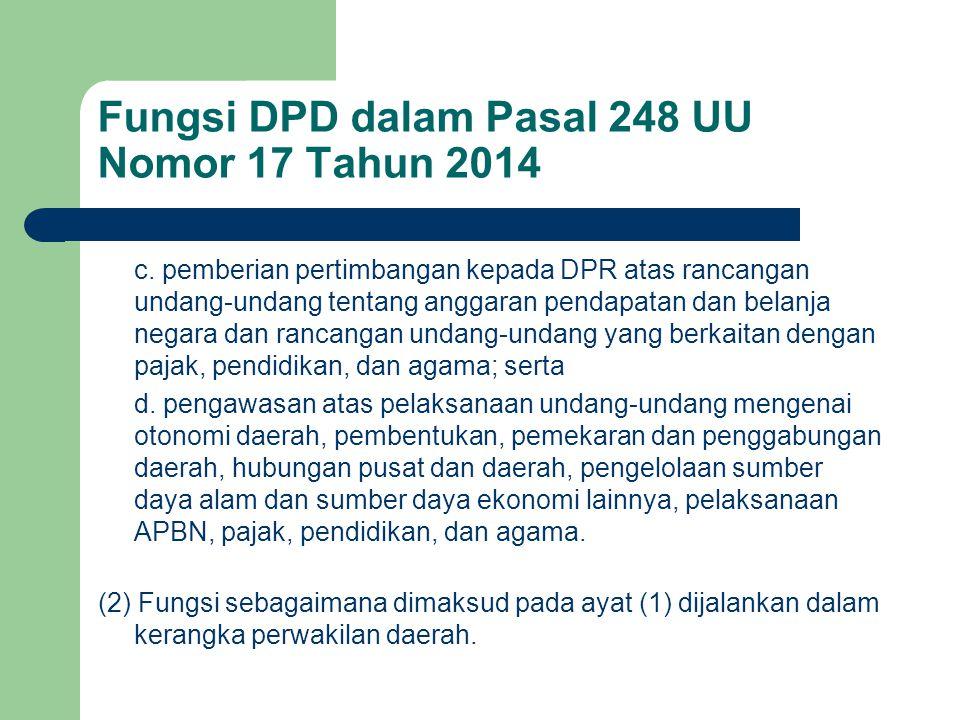 Fungsi DPD dalam Pasal 248 UU Nomor 17 Tahun 2014 c. pemberian pertimbangan kepada DPR atas rancangan undang-undang tentang anggaran pendapatan dan be