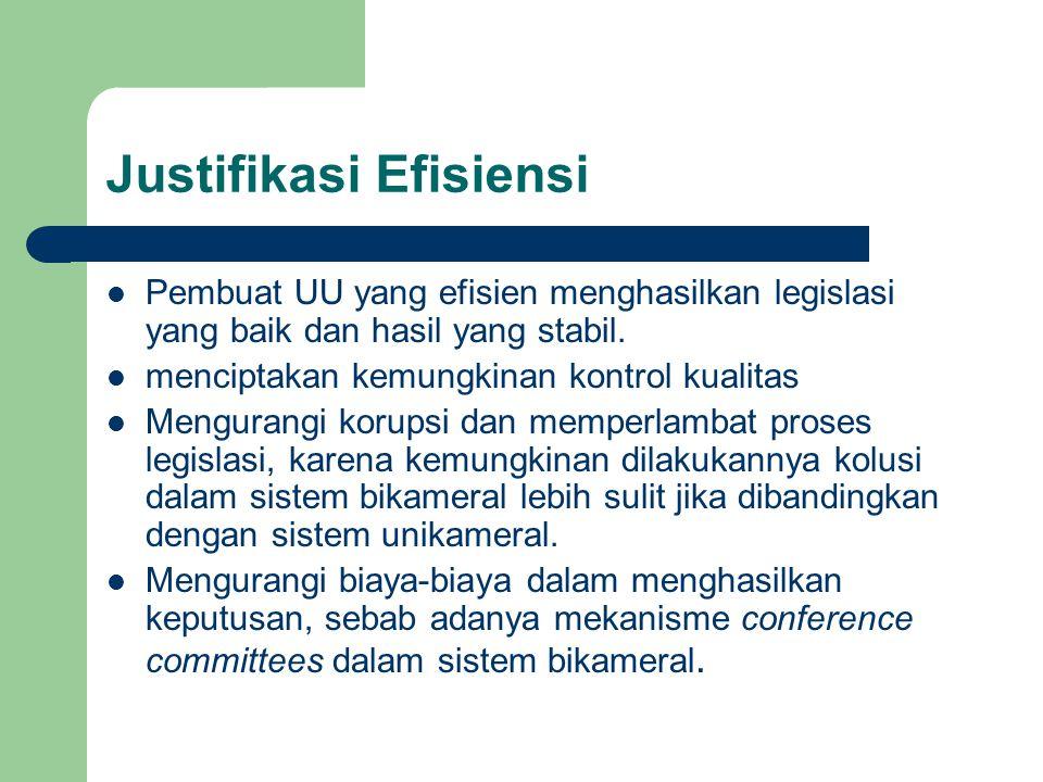 Justifikasi Efisiensi Pembuat UU yang efisien menghasilkan legislasi yang baik dan hasil yang stabil. menciptakan kemungkinan kontrol kualitas Mengura