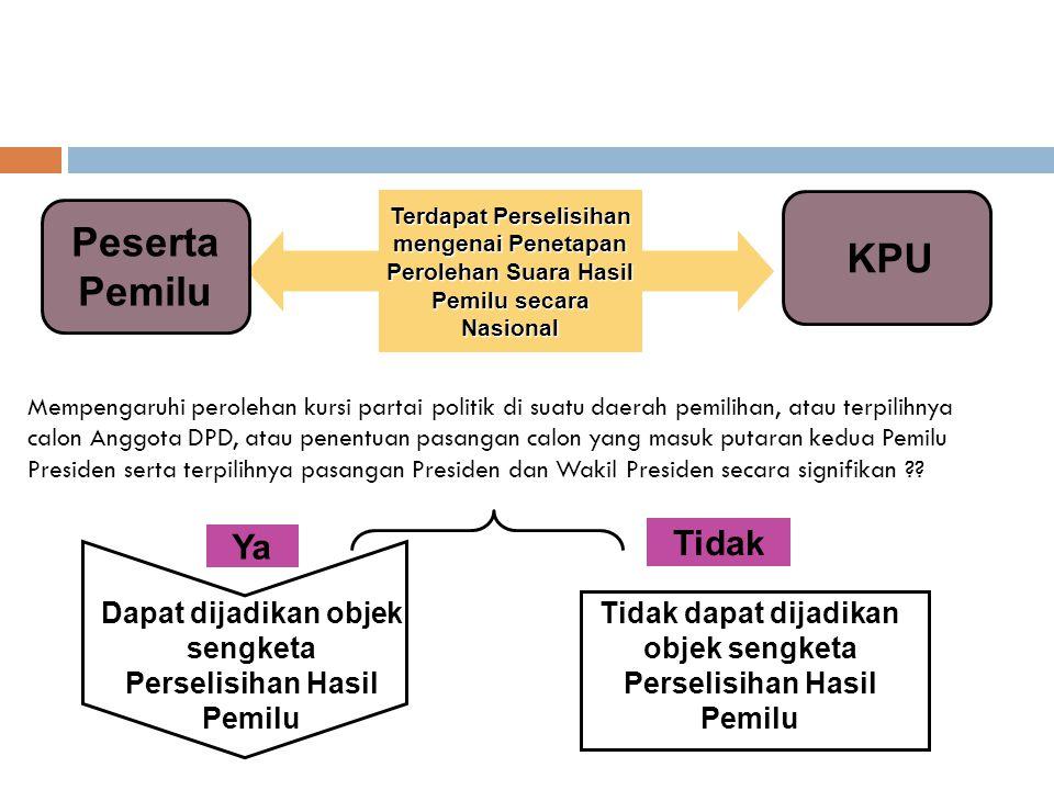Mempengaruhi perolehan kursi partai politik di suatu daerah pemilihan, atau terpilihnya calon Anggota DPD, atau penentuan pasangan calon yang masuk pu