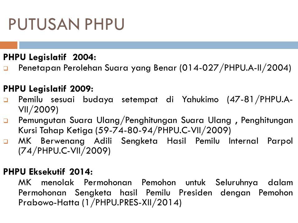 PUTUSAN PHPU PHPU Legislatif 2004:  Penetapan Perolehan Suara yang Benar (014-027/PHPU.A-II/2004) PHPU Legislatif 2009:  Pemilu sesuai budaya setemp
