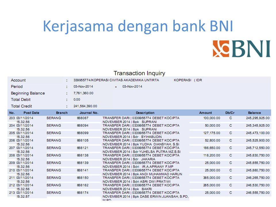 Internet banking rekening kocipta Bank BNI 46 (potong gaji anggota, mesin edc) Bank BCA (transaksi minimarket, mesin edc) Bank Mandiri (mesin edc) Bank Syariah Mandiri, BSM (pembiayaan) Bank BJB Syariah (pembiayaan) Bank Victoria Syariah (pembiayaan)