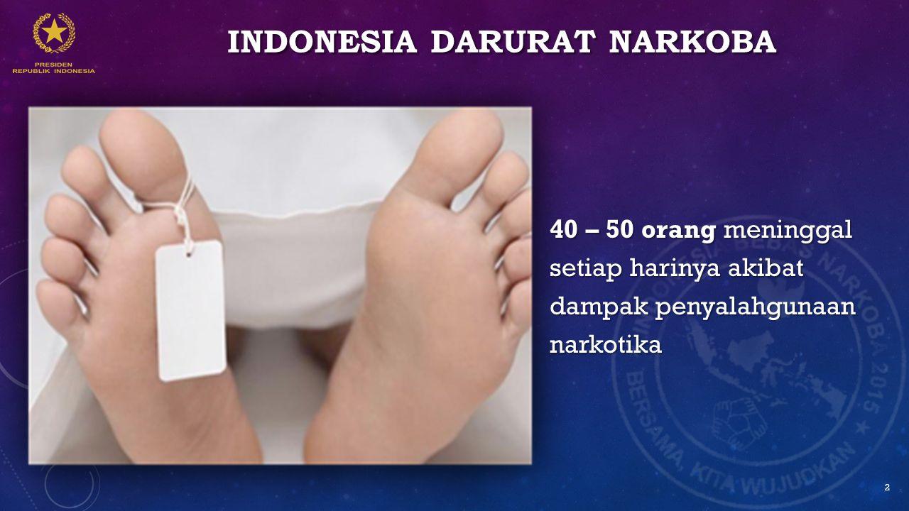 INDONESIA DARURAT NARKOBA 40 – 50 orang meninggal setiap harinya akibat dampak penyalahgunaan narkotika 2