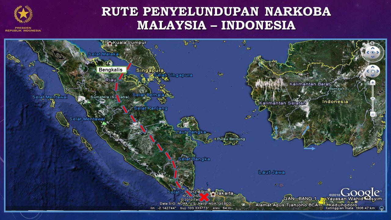 RUTE PENYELUNDUPAN NARKOBA MALAYSIA – INDONESIA Bengkalis 7
