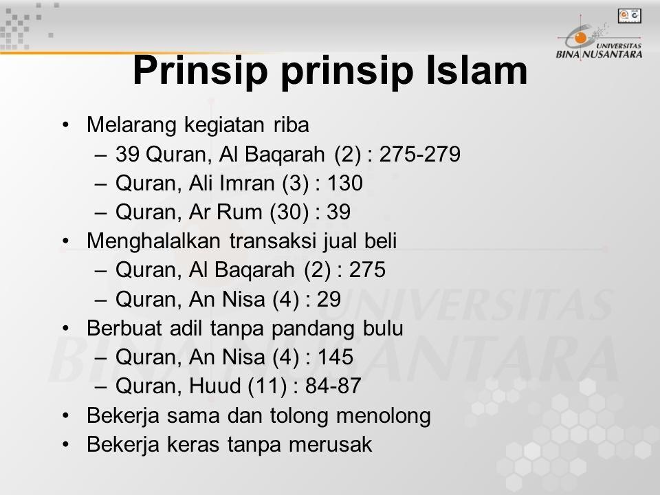 Prinsip prinsip Islam Melarang kegiatan riba –39 Quran, Al Baqarah (2) : 275-279 –Quran, Ali Imran (3) : 130 –Quran, Ar Rum (30) : 39 Menghalalkan transaksi jual beli –Quran, Al Baqarah (2) : 275 –Quran, An Nisa (4) : 29 Berbuat adil tanpa pandang bulu –Quran, An Nisa (4) : 145 –Quran, Huud (11) : 84-87 Bekerja sama dan tolong menolong Bekerja keras tanpa merusak