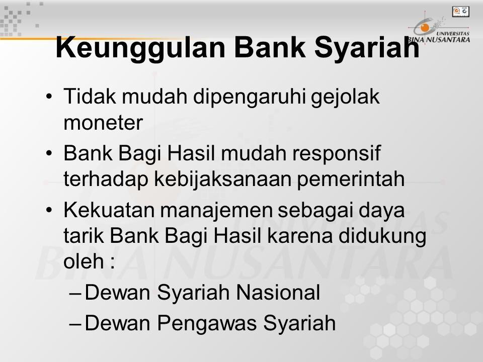 Keunggulan Bank Syariah Tidak mudah dipengaruhi gejolak moneter Bank Bagi Hasil mudah responsif terhadap kebijaksanaan pemerintah Kekuatan manajemen sebagai daya tarik Bank Bagi Hasil karena didukung oleh : –Dewan Syariah Nasional –Dewan Pengawas Syariah