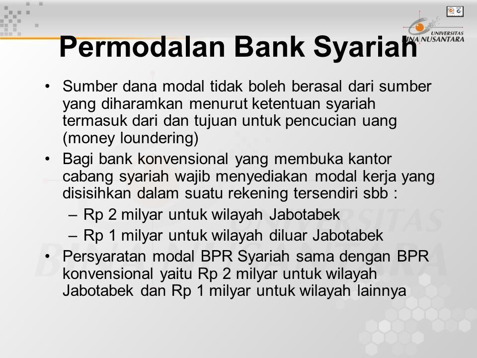 Permodalan Bank Syariah Sumber dana modal tidak boleh berasal dari sumber yang diharamkan menurut ketentuan syariah termasuk dari dan tujuan untuk pen
