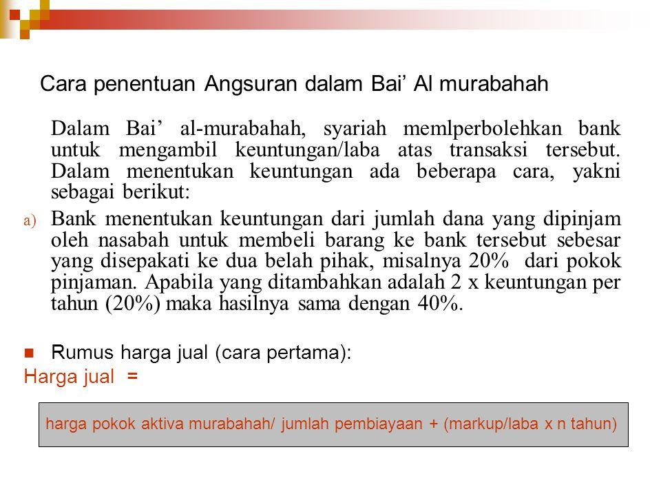 Cara penentuan Angsuran dalam Bai' Al murabahah Dalam Bai' al-murabahah, syariah memlperbolehkan bank untuk mengambil keuntungan/laba atas transaksi t