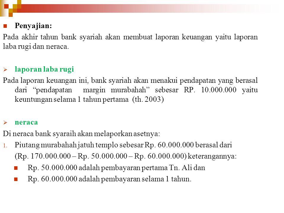 Penyajian: Pada akhir tahun bank syariah akan membuat laporan keuangan yaitu laporan laba rugi dan neraca.  laporan laba rugi Pada laporan keuangan i