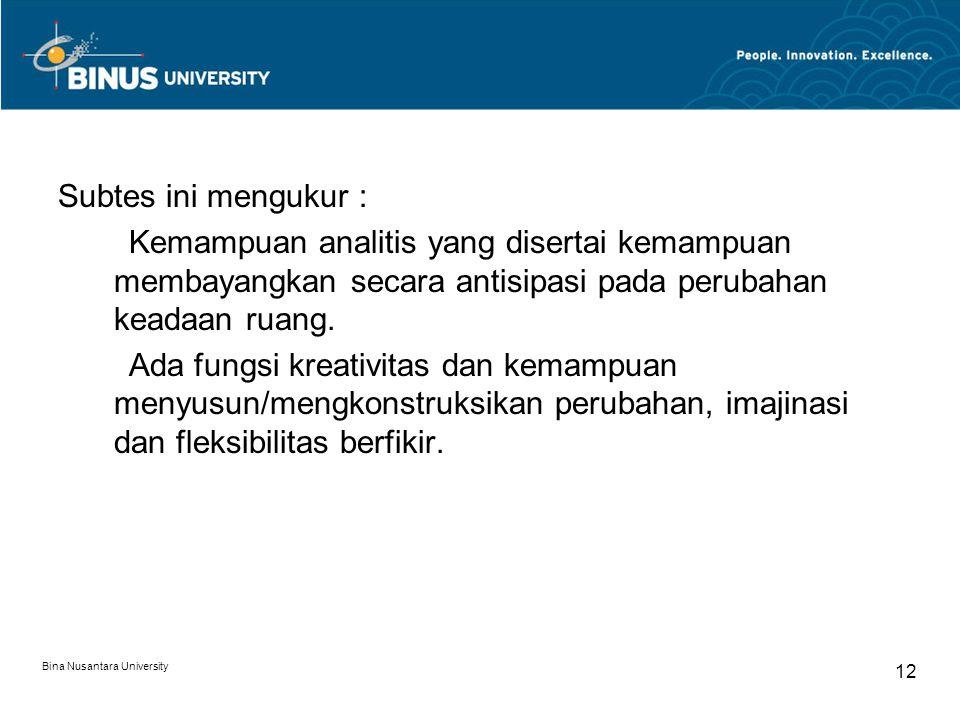Bina Nusantara University 12 Subtes ini mengukur : Kemampuan analitis yang disertai kemampuan membayangkan secara antisipasi pada perubahan keadaan ru