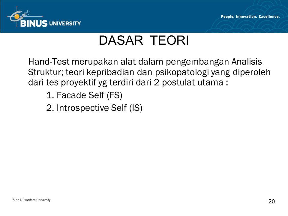 Bina Nusantara University 20 DASAR TEORI Hand-Test merupakan alat dalam pengembangan Analisis Struktur; teori kepribadian dan psikopatologi yang diper