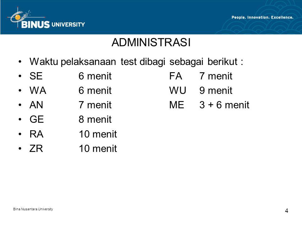 Bina Nusantara University 4 ADMINISTRASI Waktu pelaksanaan test dibagi sebagai berikut : SE6 menitFA7 menit WA6 menitWU9 menit AN7 menitME3 + 6 menit