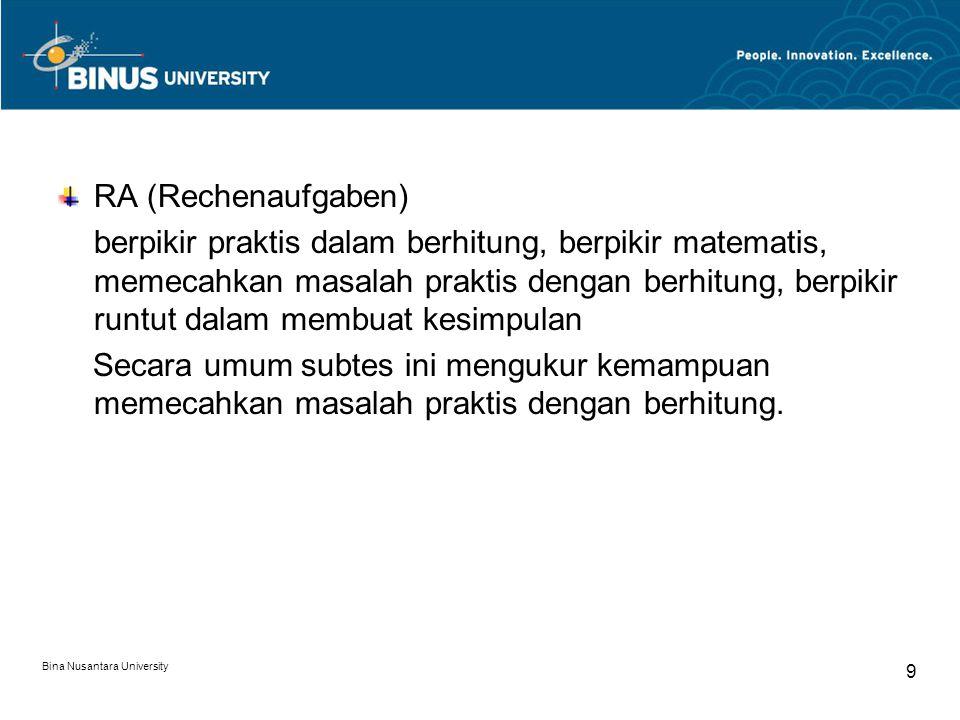 Bina Nusantara University 9 RA (Rechenaufgaben) berpikir praktis dalam berhitung, berpikir matematis, memecahkan masalah praktis dengan berhitung, ber