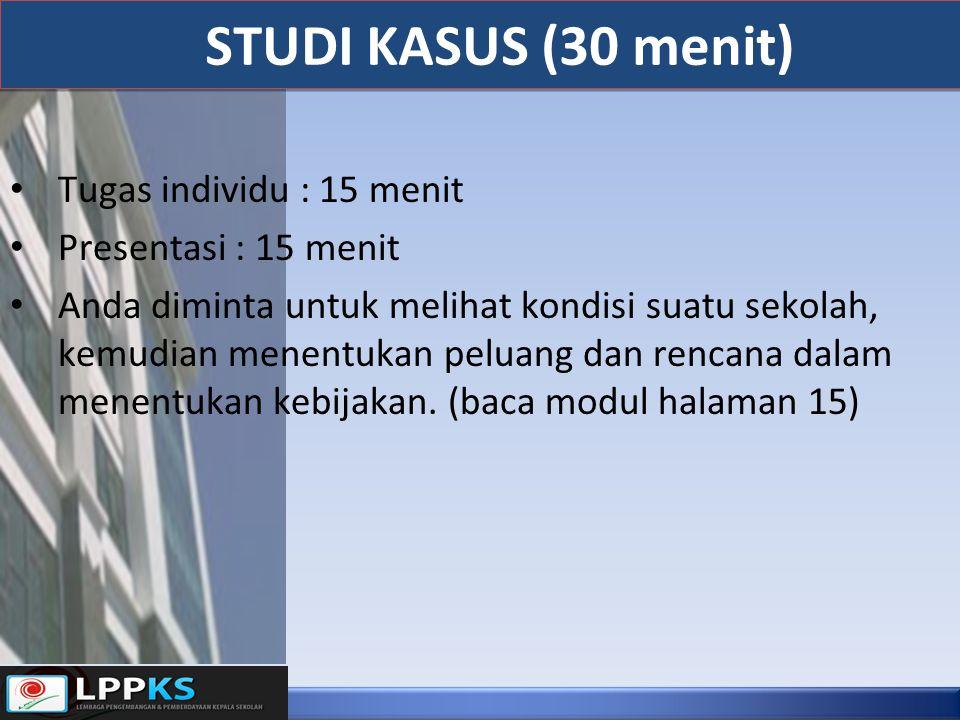 STUDI KASUS (30 menit) Tugas individu : 15 menit Presentasi : 15 menit Anda diminta untuk melihat kondisi suatu sekolah, kemudian menentukan peluang d