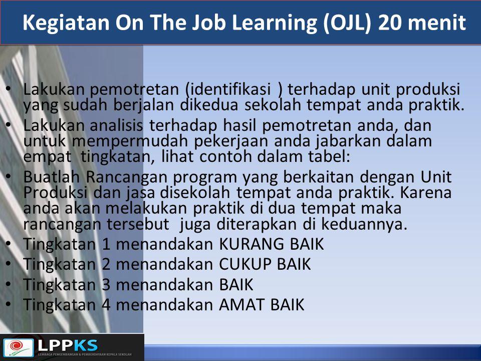 Kegiatan On The Job Learning (OJL) 20 menit Lakukan pemotretan (identifikasi ) terhadap unit produksi yang sudah berjalan dikedua sekolah tempat anda