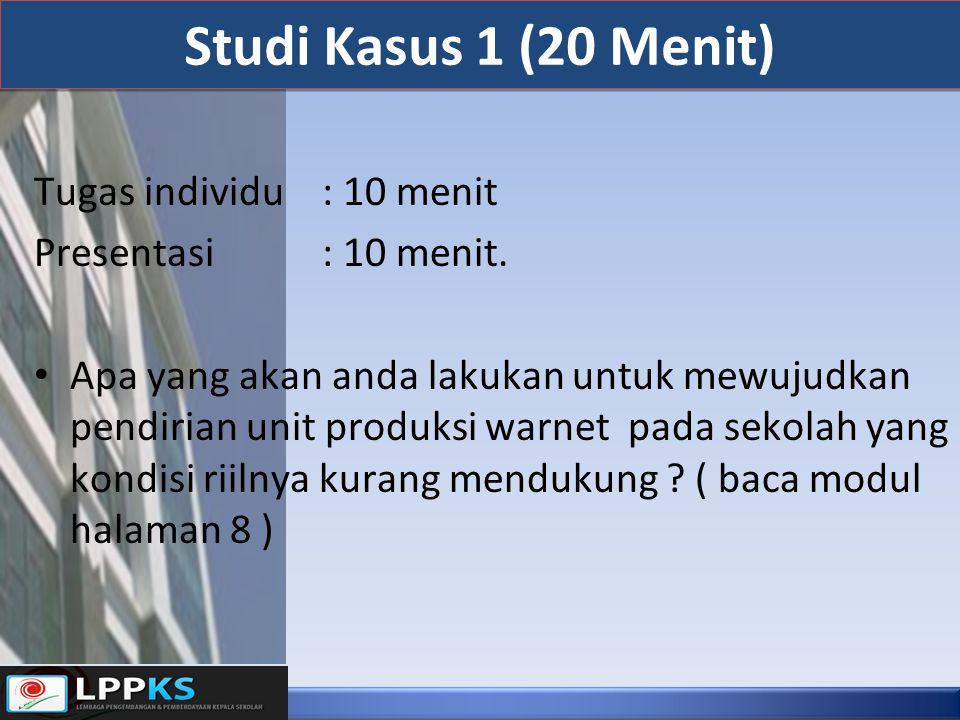 Studi Kasus 2 (20 menit) Tugas Individu 10 menit, Presentasi 10 menit : Bagimana usaha anda untuk meyakinkan pihak sekolah bahwa anda dapat melakukan pengembangan unit produksi pada sekolah yang unit produksinya sudah berjalan dengan baik namun terkendala dengan modal .