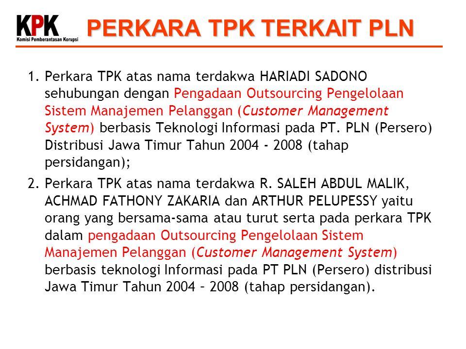 PERKARA TPK TERKAIT PLN 1.Perkara TPK atas nama terdakwa HARIADI SADONO sehubungan dengan Pengadaan Outsourcing Pengelolaan Sistem Manajemen Pelanggan (Customer Management System) berbasis Teknologi Informasi pada PT.