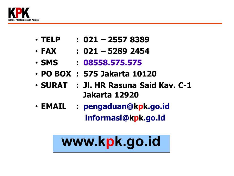 TELP : 021 – 2557 8389 FAX: 021 – 5289 2454 SMS: 08558.575.575 PO BOX: 575 Jakarta 10120 SURAT: Jl. HR Rasuna Said Kav. C-1 Jakarta 12920 EMAIL: penga