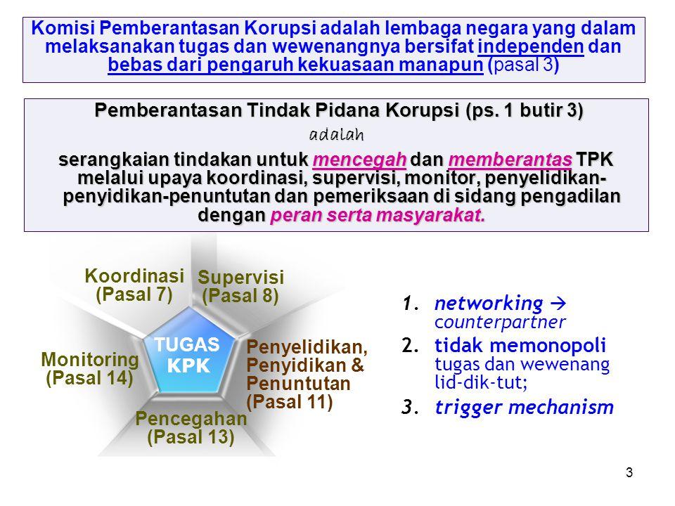 3 Pemberantasan Tindak Pidana Korupsi (ps. 1 butir 3) Pemberantasan Tindak Pidana Korupsi (ps. 1 butir 3)adalah serangkaian tindakan untuk mencegah da