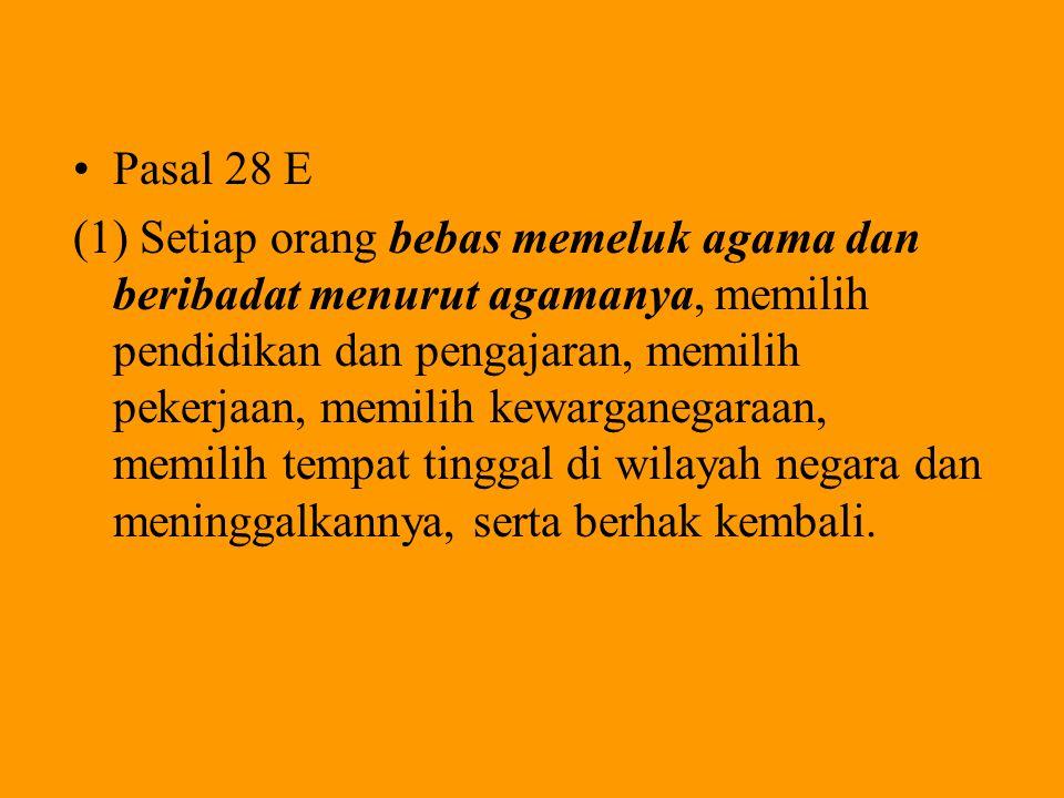 HAM DALAM UUD'45: BAB XA, Pasal 28A-28J Pasal 28A Setiap orang berhak untuk hidup serta berhak mempertahankan hidup dan kehidupannya.