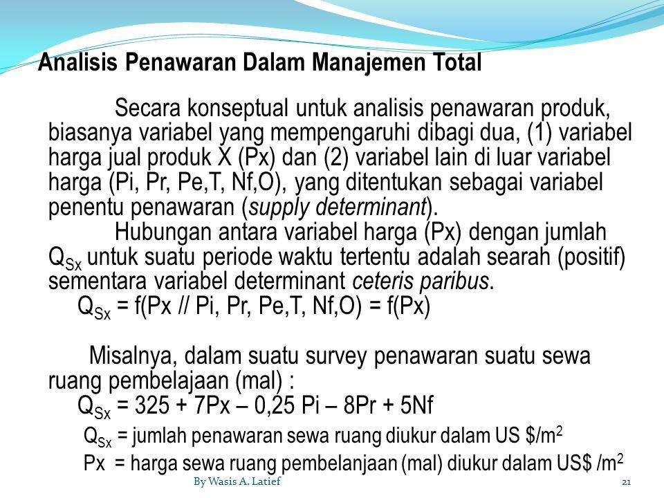 Analisis Penawaran Dalam Manajemen Total Secara konseptual untuk analisis penawaran produk, biasanya variabel yang mempengaruhi dibagi dua, (1) variabel harga jual produk X (Px) dan (2) variabel lain di luar variabel harga (Pi, Pr, Pe,T, Nf,O), yang ditentukan sebagai variabel penentu penawaran ( supply determinant ).