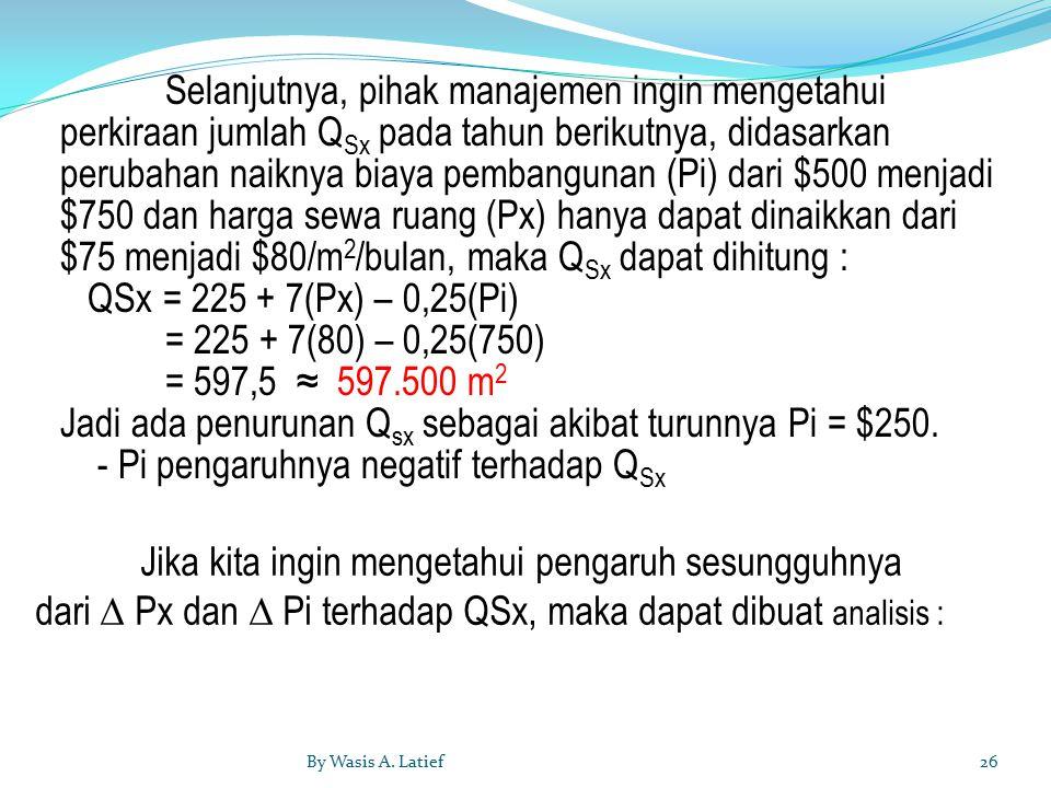 Selanjutnya, pihak manajemen ingin mengetahui perkiraan jumlah Q Sx pada tahun berikutnya, didasarkan perubahan naiknya biaya pembangunan (Pi) dari $500 menjadi $750 dan harga sewa ruang (Px) hanya dapat dinaikkan dari $75 menjadi $80/m 2 /bulan, maka Q Sx dapat dihitung : QSx = 225 + 7(Px) – 0,25(Pi) = 225 + 7(80) – 0,25(750) = 597,5 ≈ 597.500 m 2 Jadi ada penurunan Q sx sebagai akibat turunnya Pi = $250.