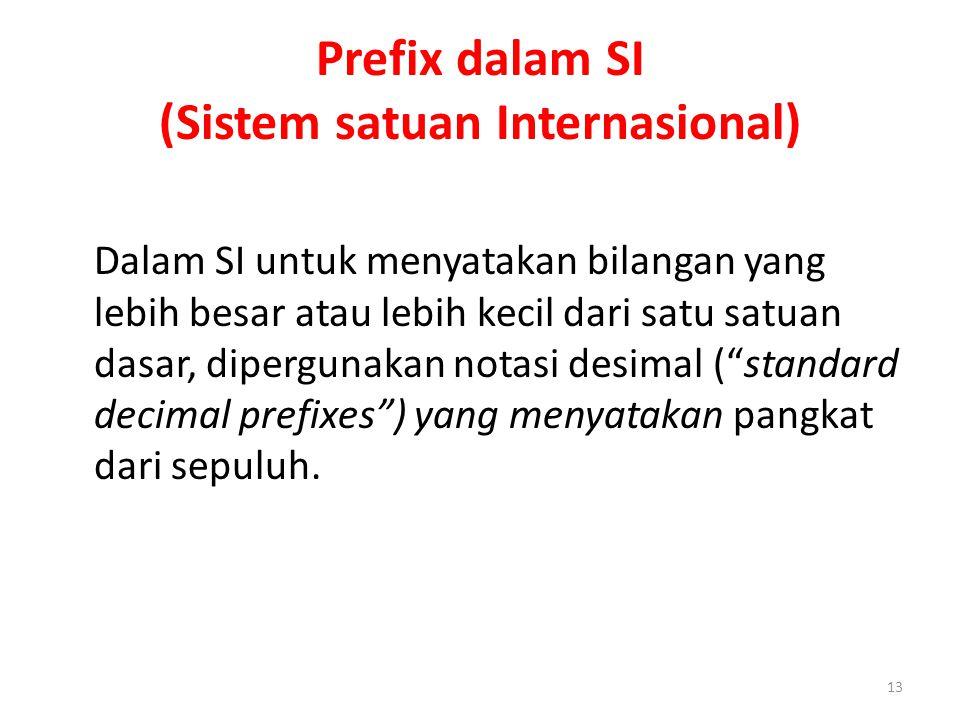 Prefix dalam SI (Sistem satuan Internasional) Dalam SI untuk menyatakan bilangan yang lebih besar atau lebih kecil dari satu satuan dasar, dipergunaka