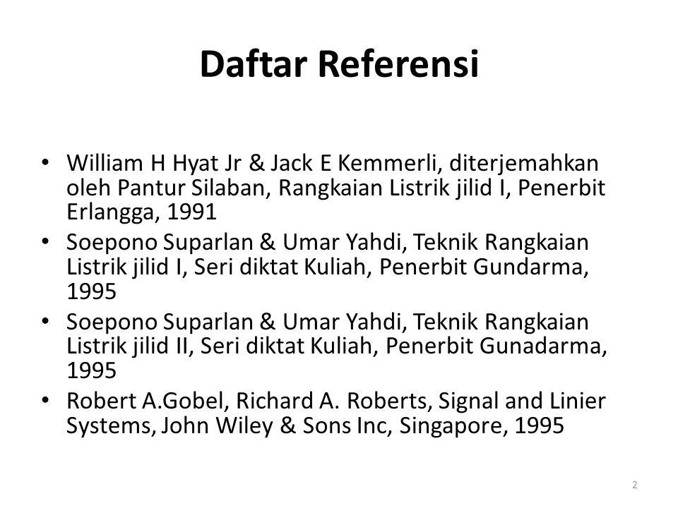 Daftar Referensi William H Hyat Jr & Jack E Kemmerli, diterjemahkan oleh Pantur Silaban, Rangkaian Listrik jilid I, Penerbit Erlangga, 1991 Soepono Su